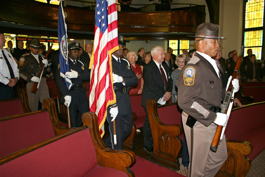 The combined Honor Guard of Roanoke City Sheriff's Office and Roanoke Police Department present Colors at the Law Enforcement Memorial service.