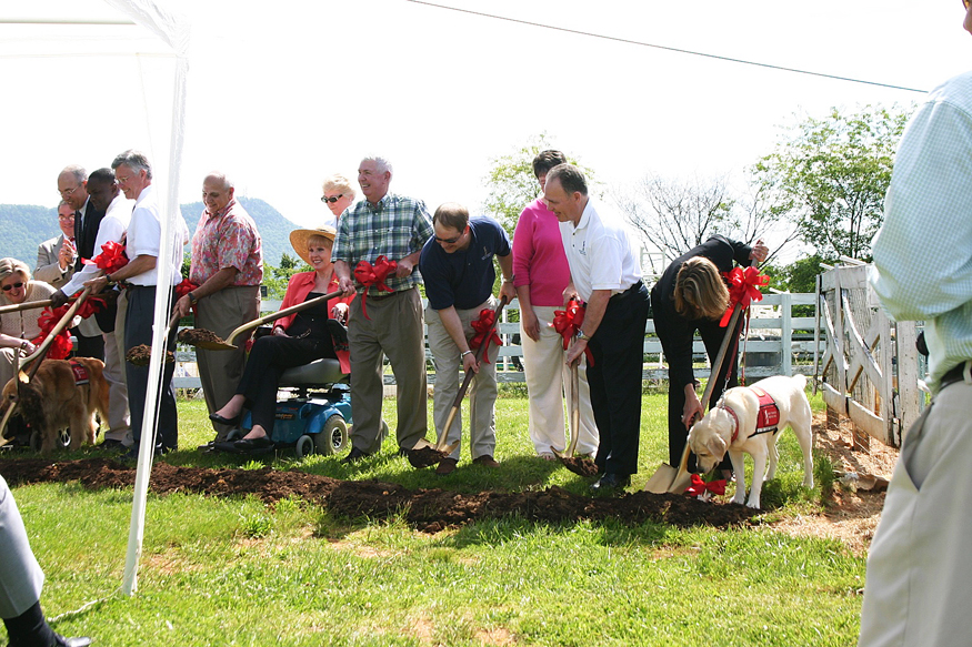 Officials with St. Francis Service Dogs in  Roanoke County broke ground last week on a new 5,000 square foot kennel building that will house dogs in training.