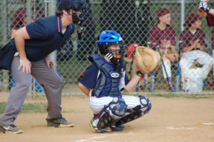 Cave Spring National catcher Ryan Eubank gives the target.