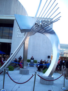 The public art sculpture at the Roanoke Civic Center is where the Run for the Arts begins and ends.