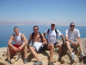 Scott Stilwell (far right) at the Dead Sea with fellow mission volunteers.