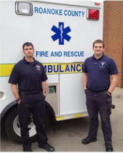 Student Cary Strosnider is pictured on the right with his field training officer Ron Stone at the Roanoke County Fire and Rescue Station #9.