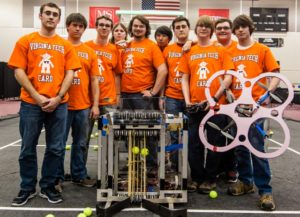 (L-R) VA Tech Collegiate Aerial Robotics Demonstration team members Kevin Hetzer, Brad Edelin, Josh Eddy, Bryan Yanchulis, Tyler Clark, Brian Wright, Wesley Edge, Billy Greer, Wes Holland, and Tim Kurtiak. All are sophomores within the College of Engineering.