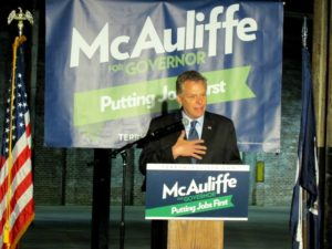 Terry McAuliffe addresses supporters in Roanoke.