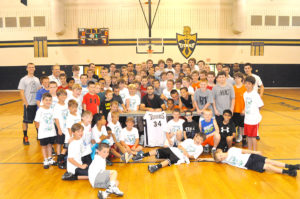 Hancock was a popular guest among nearly 100 basketball campers at Hidden Valley High School. The Final-4 Most Outstanding Player obliged autograph requests on everything from shirts and shoes to a section of basketball hardwood floor.
