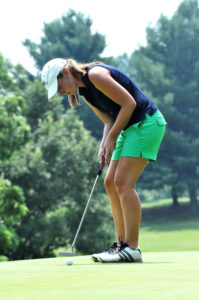 Sara Moir sinks a putt during the final round at Botetourt Golf and Swim Club on her way to a wire-to-wire win in the Roanoke Valley Women's Golf Association City-County championship.