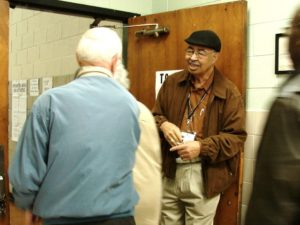 Rev. Tinsley opens the door to first in line to vote in 2008 Presidential Election.