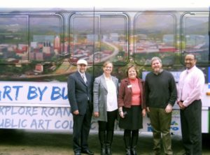 """Art by Bus organizers standing before """"Looking Over the Valley"""" by Bill White.  Left to Right: RIDE Solutions Program Director Jeremy Holmes; Writer by Bus Melanie Almeder; Roanoke Arts Commission Director Susan Jennings; Roanoke City Councilman Dr. David Trinkle; Valley Metro Assistant General Manager Kevin Price."""