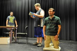 "Spencer D. Meredith, Tim Kennard and Owen Merritt go through rehearsals of ""Pillowman."""