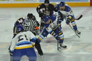 Roanoke controls the opening face off Friday night in The Berglund Center against the Knoxville Ice Bears.